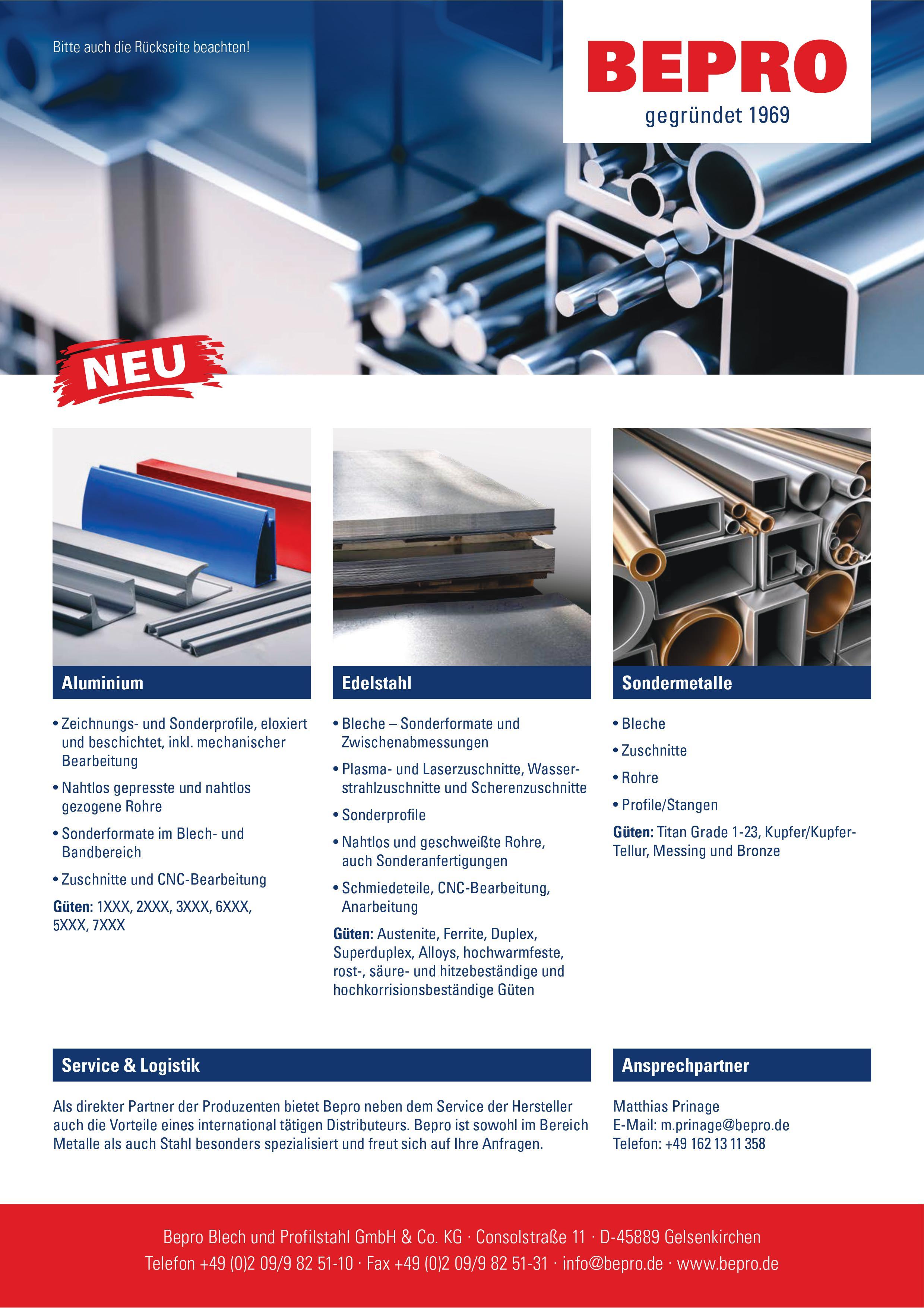 BEPRO Stahlhandel Nichteisenmetalle NE-Metalle Kupfer Nickel Titan Bronze Lieferant