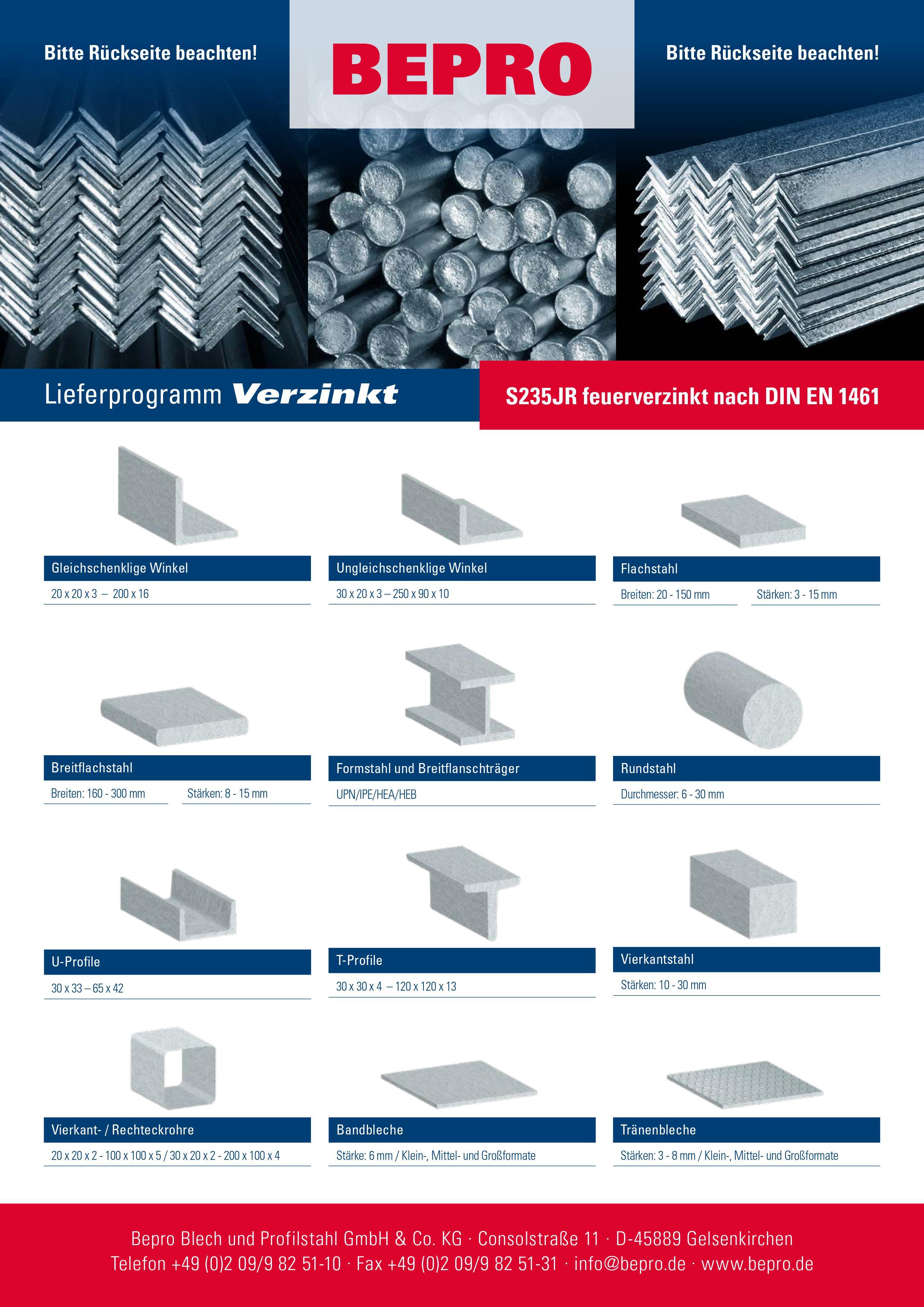 BEPRO Stahlhandel Verzinkter-Stahl Lieferant S235JR